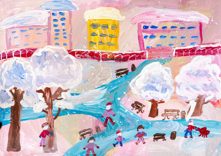 Kindertekening. Kinderen die op de bevroren rivier in de winterstad spelen Stockfoto