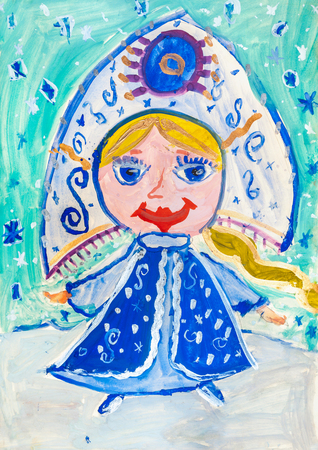 Childrens drawing. Snow Maiden with long braid wearing  blue sundress and headdress Stock Photo