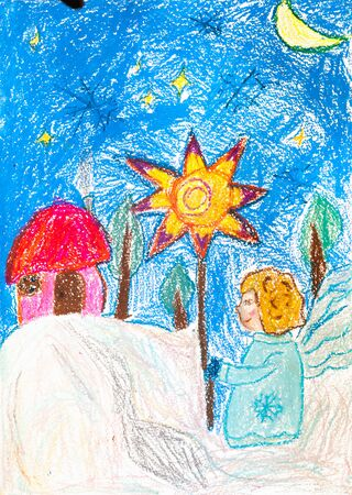 orthodoxy: Childrens drawing. boy is star of Bethlehem on Christmas holiday Stock Photo