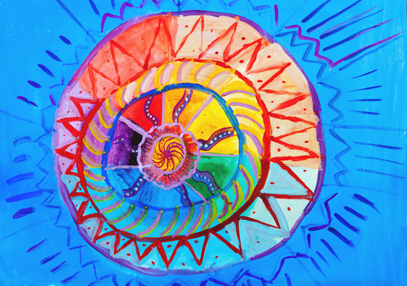 Children drawing. Original image of a solar circle on a blue sky  Stock Photo