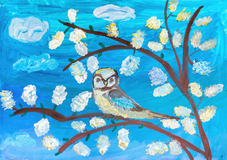 Childrens drawing. Tit sitting on the branch of a tree against the blue sky  Stock Photo