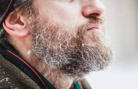 snowflakes lie on the red beard of a man. On his cheek are visible gray hair