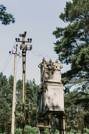Transforming substation and concrete poles of power transmission stands on the edge of a pine forest  Banco de Imagens