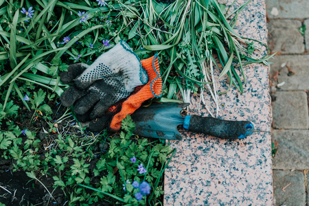 Gardening equipment. On the green grass of the garden are working gloves of different colors. The garden scoop lies on a granite slab
