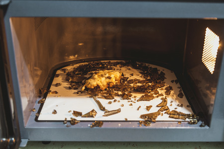 Unsuccessful heating of food. Small pieces of glassware lie in the microwave after a strong heating