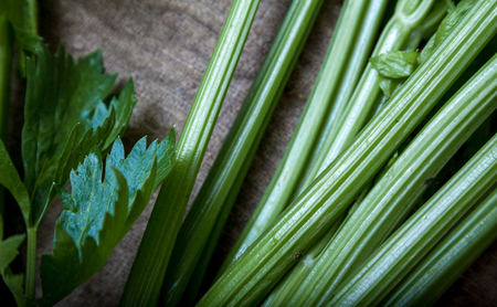 Two bunches of green celery odorous lie on canvas fabricclose-up