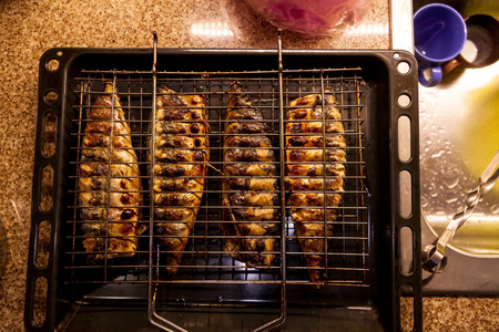 Fish baked on the grill. Four appetizing fried headless mackerel in a steel grid close up 版權商用圖片