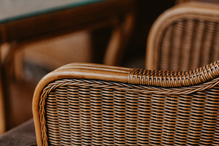 Beautiful wicker rattan chair close up