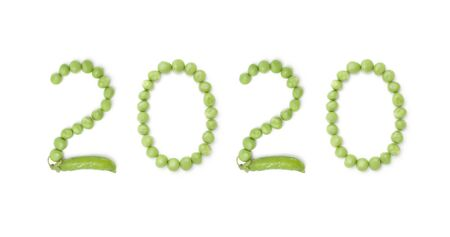 2020. Set of numbers new year with unique design of the pods of green peas. Each figure represents a unique and inimitable combination of pods and peas.