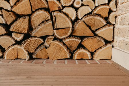 Background from wooden logs. Mulberry wood chopped tightly folded in several layers