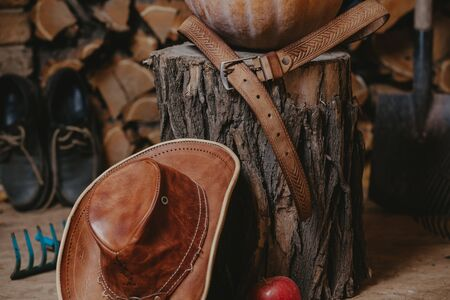 leather hat stands in front of a stump on which lies a brown belt closeup