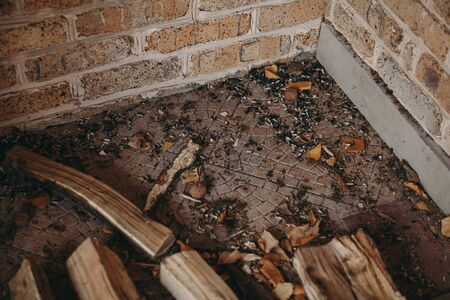 Uncleaned trash lies in the corner of a brick wall. Tree bark, fallen leaves and black husk of sunflower seeds