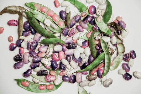 Pods and seeds of beans of different colors lie on a white background. Close-up