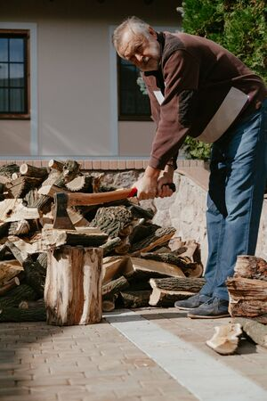 handsome elderly man pricks a dry mulberry log with an ax on a stump in the yard. Behind a pile of firewood