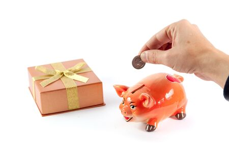 hand is putting a coin into a piggy bank in the shape of a pig of the symbol of 2019 on a white background. Next gift box and dollar bill 写真素材