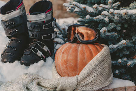 Autumn still life on the snow. A round ripe orange pumpkin lies in the snow. A woolen scarf is wound around the pumpkin. Above are ski goggles. Boots are on the back