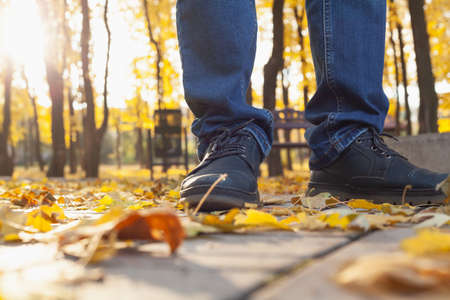 Autumn Walk. The legs of a man in blue jeans and boots stand on the paving slabs in an autumn street. The sun is shining brightly from behind through the tree trunks. Side view 免版税图像