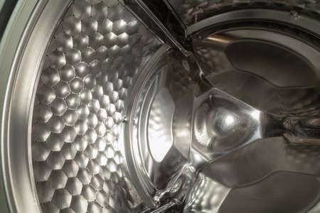Drum stainless steel washing machine close up 写真素材
