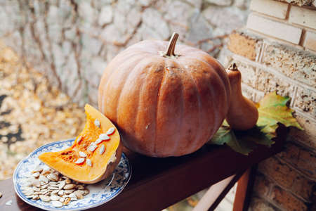 Autumn orange plot. A whole and cut ripe pumpkin lies on a wooden railing. Large white seeds on the left. On the right is an elongated pumpkin