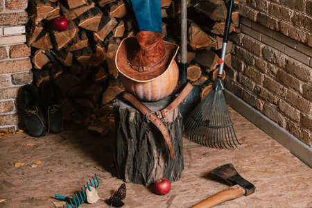 Autumn veranda. On the stump lies a large ripe pumpkin against the background of chopped firewood. She is wearing a leather hat and belt, next to an ax, a shovel, a rake