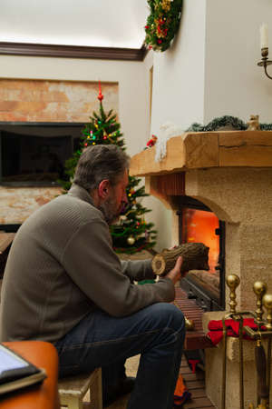 New Year by the fireplace. A man with a beard lays a log in the burning fireplace. In the background, New Year lights are lit on the tree. Reklamní fotografie