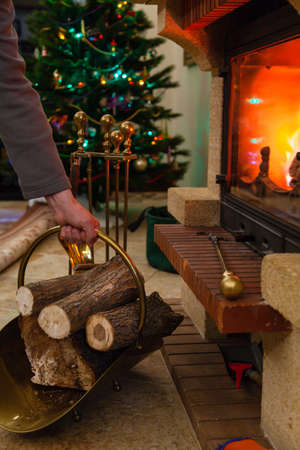 In front of the burning fireplace there is a brass firebox with round logs. In the background, a garland on a Christmas tree is glowing
