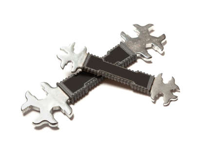 Two US and Metric open-end wrenches on a white background. Handles covered in black nylon Reklamní fotografie