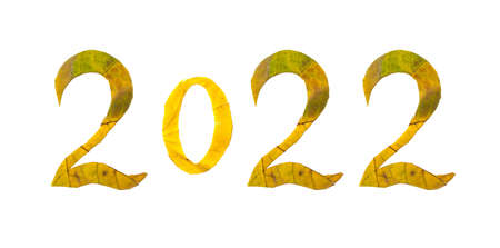 Autumn numbers. 2022 is lined with beautiful yellow maple leaves with carved numbers. Isolated on white background Standard-Bild