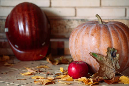 large orange pumpkin is on the shelf. Nearby is a beautiful red apple, pine cones. On the left lies a construction helmet