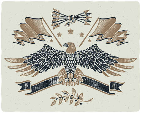 Graphic illustrations set in American style. Grunge texture hand drawn images of bald eagle spreading his wings, flag, ribbon, arrows and laurel branch Stock Illustratie