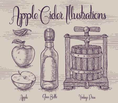 Set of hadcrafted apple cidre theme illustrations with vintage wooden press