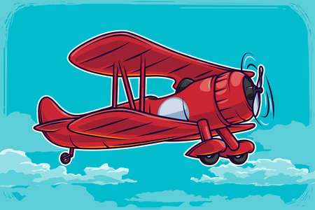 Vector vintage airplane illustration and blue clouds background