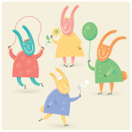 Funny vector rabbits playing with baloon, skipping rope, flower and bubble blower