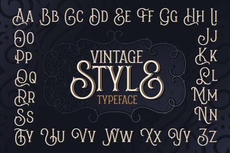 Vintage style typeface set with dark blue decorative ornate background
