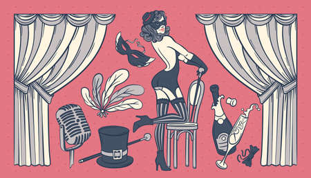 Set of vintage illustrations with cabaret show objects and beautiful woman dancer