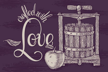 Vector drawing of a vintage wooden apple press with a lettering composition