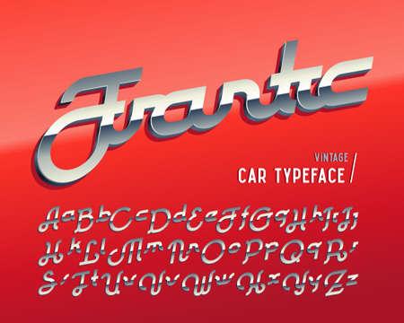 Vintage car typeface named