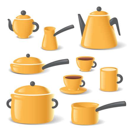 Yellow kitchen stuff tableware vector set Vettoriali