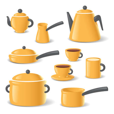 Yellow kitchen stuff tableware vector set Ilustración de vector
