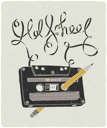 Old School audio cassette with pencil inside and jammed tape in form of lettering composition. Vector hand drawn illustration.