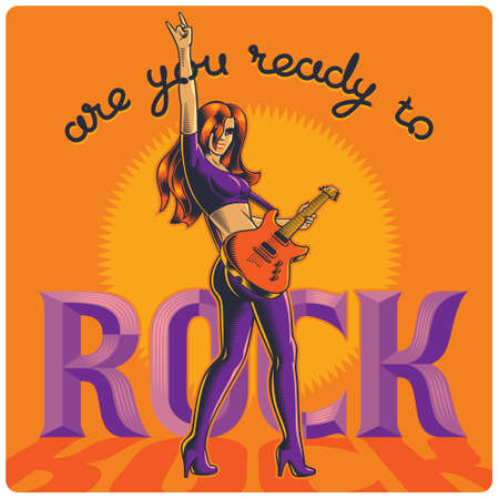 Modern rock women playing on electric guitar