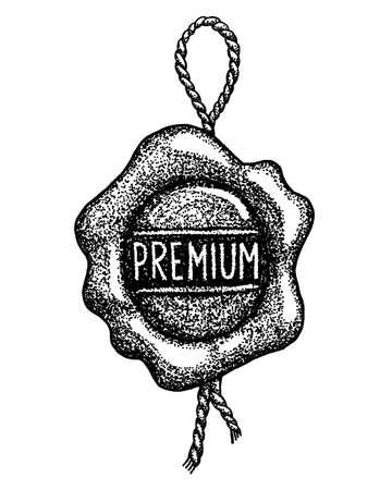premium sealing wax graphic element on white background