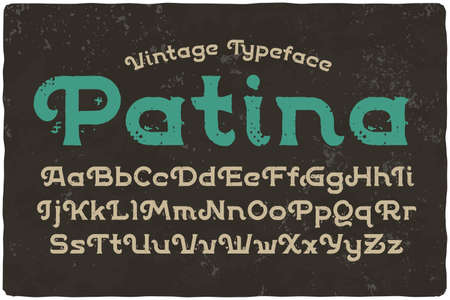 """Vintage font with textured effect named """"Patina"""" Vector Illustration"""