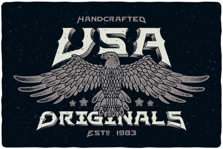 """Print for t-shirt with bald eagle illustration and text """"Handcrafted USA Originals"""""""