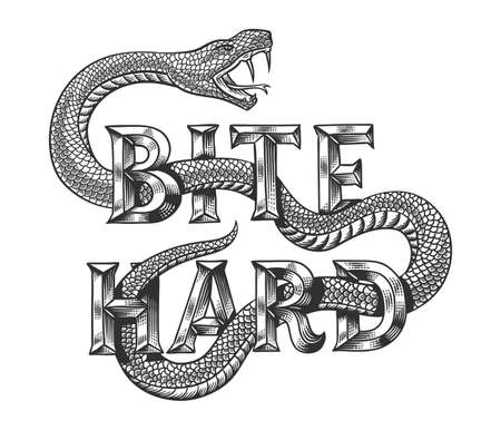 Snake graphic illustration with engraved slogan