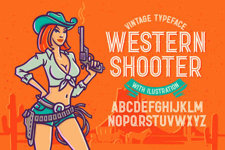 A set of vector wild west theme illustrations. Hand made drawings of a beautiful female shooter, sheriff star, gun, cow skull, cowboy hat and shoe.