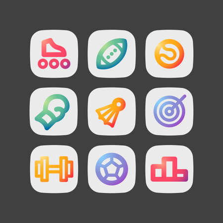 Simple modern colorful icons. Sport theme sign set.