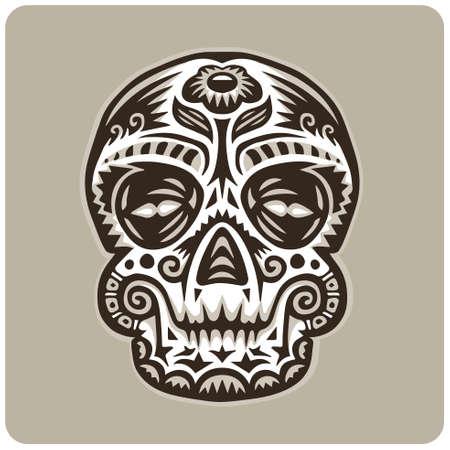 Vector sugar skull with flower on forehead Vettoriali
