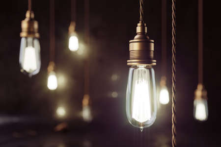 Scène de loft de maquette de rendu 3D avec lampes électriques en cuivre vintage avec effet bokeh lisse et mur grunge. Banque d'images
