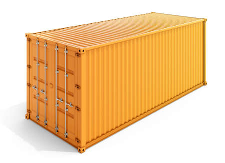3d rendering of a yellow metal container isolated on white background